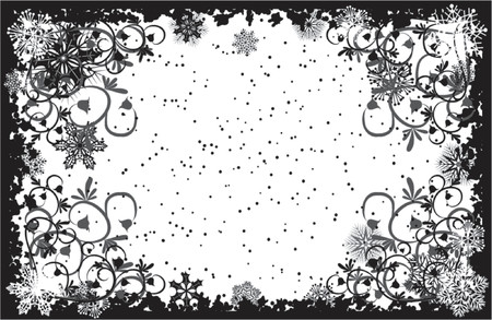 icicle: Grunge snowflakes frame, vector illustration