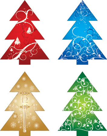icicle: Christmas tree, winter background, vector illustration