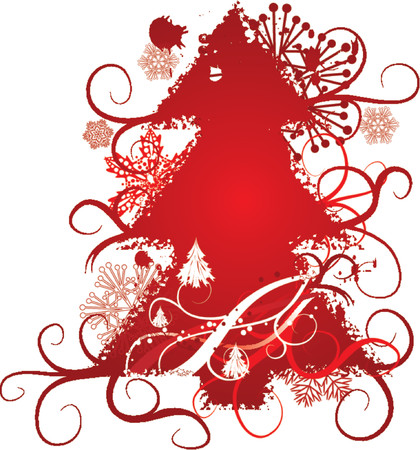 Grunge christmas tree, snowflakes background, vector illustration Illustration