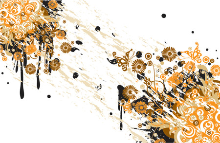 Grunge floral background, vector illustration Stock Vector - 725583