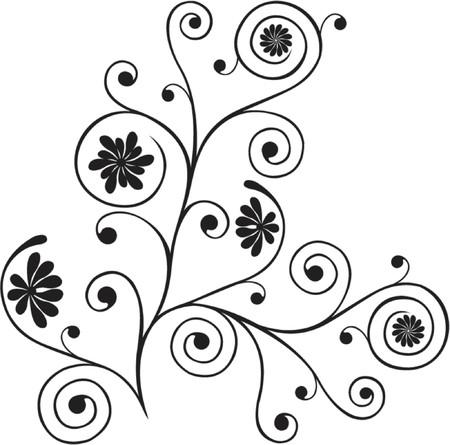 liane: Scroll, cartouche, decor, vector illustration