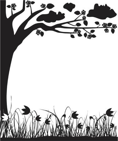 꽃이 만발한: Blossoming tree and tulips, spring, frame, vector