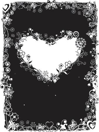 lovestruck: Grunge valentine frame, heart, vector Illustration