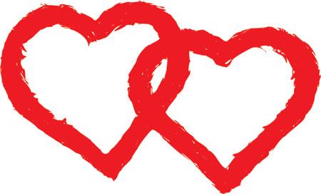 lovestruck: Grunge valentine frame, hearts, vector Illustration