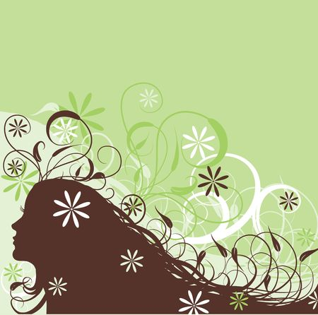 Floral abstract woman, vector illustration  Stock Illustration - 1142265