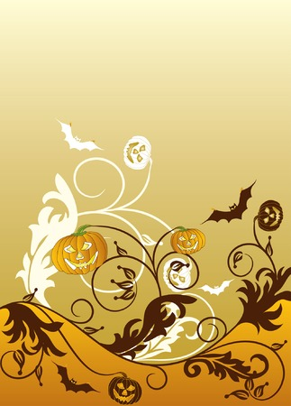 Halloween background with witch, bats and pumpkin, vector illustration Vector