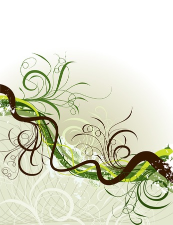 Grunge floral background, vector illustration  Stock Vector - 2004571