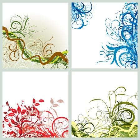 Grunge floral background, vector illustration  Ilustrace