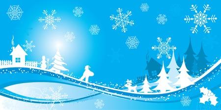 Christmas winter background, vector illustration Stock Vector - 2094262