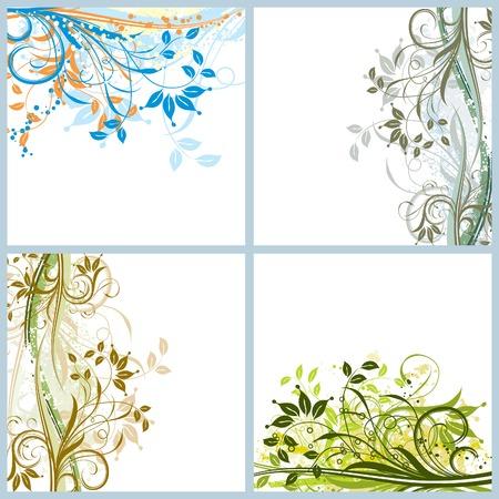 Grunge floral backgrounds, vector illustration