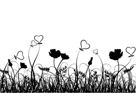 Grass, poppy and heart, vector illustration Vector