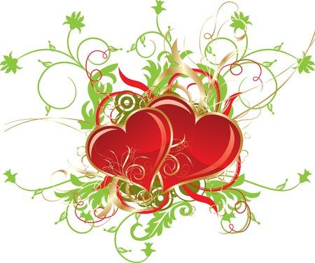 Valentines floral background, vector illustration Vector