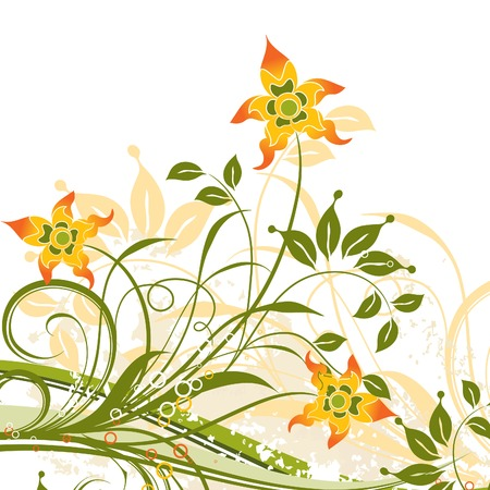 Grunge floral background, vector illustration Stock Vector - 2901952