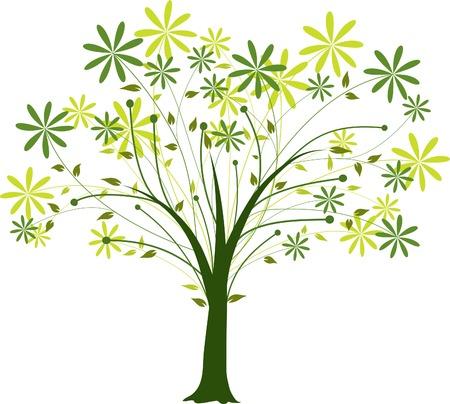 꽃이 만발한: Blossoming decorative tree, vector illustration