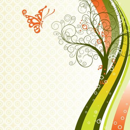 Decorative tree background, vector illustration