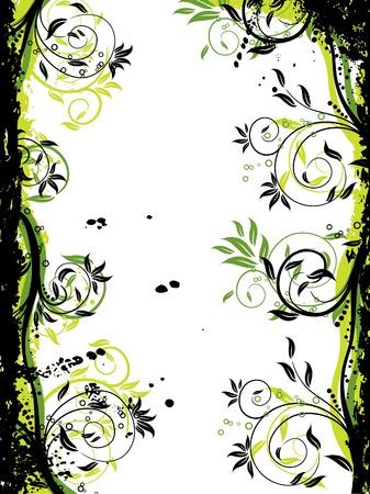 Floral grunge frame, vector illustration  Illustration