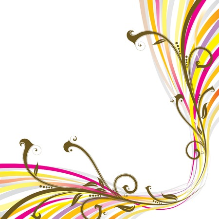 vector drawing: Floral wave background, vector illustration  Illustration