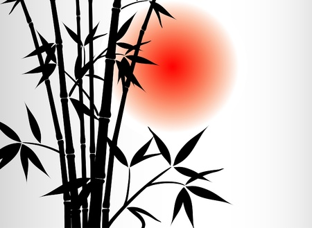 Bamboo background and sun Illustration