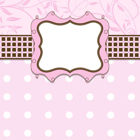 scrapbook frame: Template greeting card, vector illustration