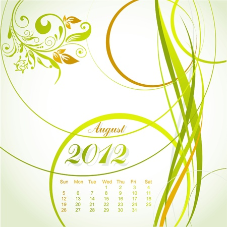 Vector floral calendar 2012, august, illustration Vector