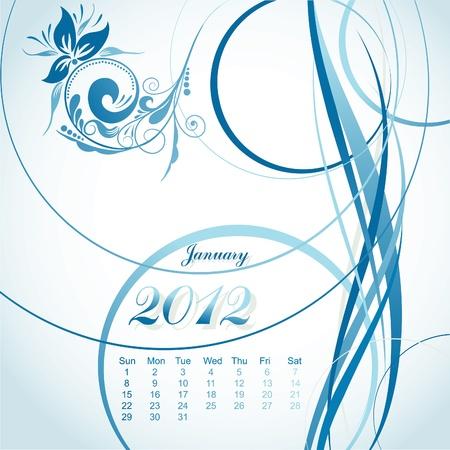 floral calendar 2012, january, illustration Vector