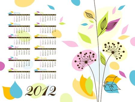 Abstract floral calendar 2012  Stock Vector - 10264656