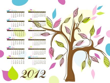 Abstract tree calendar 2012 Stock Vector - 10264661