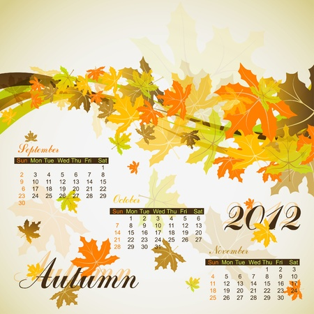 Maple autumn calendar 2012 Stock Vector - 10264662