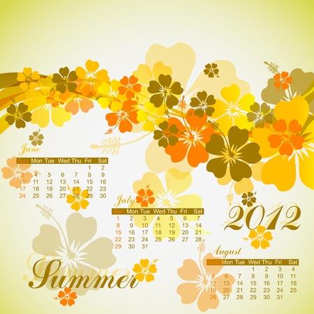 Hibiscus summer calendar 2012, vector illustration, eps10 Vector