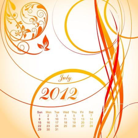 Vector floral calendar 2012, july, illustration Vector