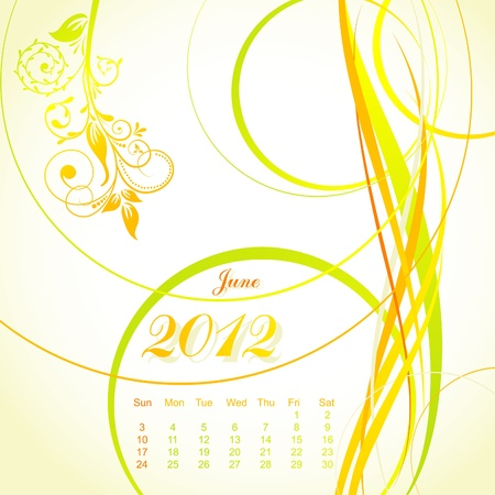 Vector floral calendar 2012, june, illustration Vector