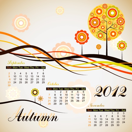 Tree autumn calendar 2012. Stock Vector - 10556970