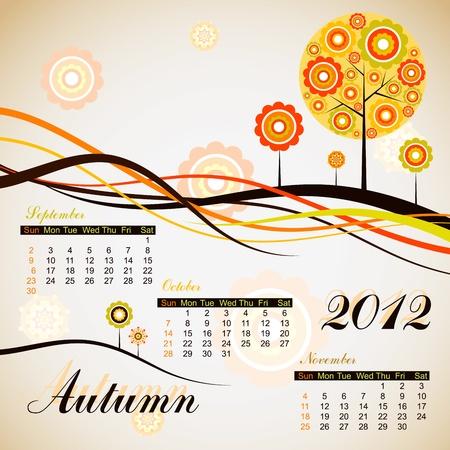 Tree autumn calendar 2012. Stock Vector - 10556970
