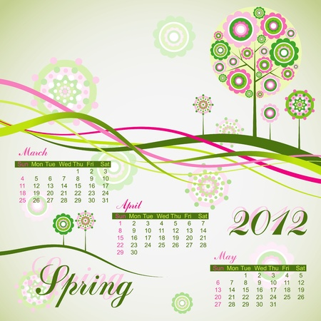 Floral tree spring calendar 2012. Stock Vector - 10556971