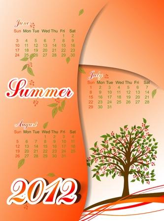 Tree summer calendar 2012. Vector