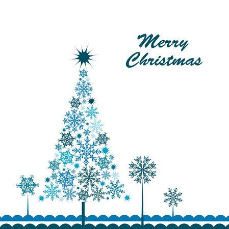 postcard background: Template snowflake tree greeting card.