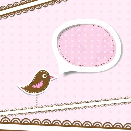 cute border: Template greeting card. Illustration