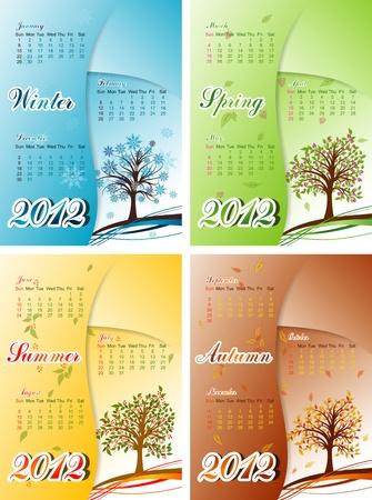 winter cherry: Tree winter, spring, summer, autumn calendar 2012. Illustration