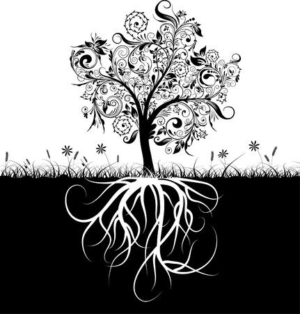 racines: Arbre d�coratif et les racines, herbe, illustration vectorr