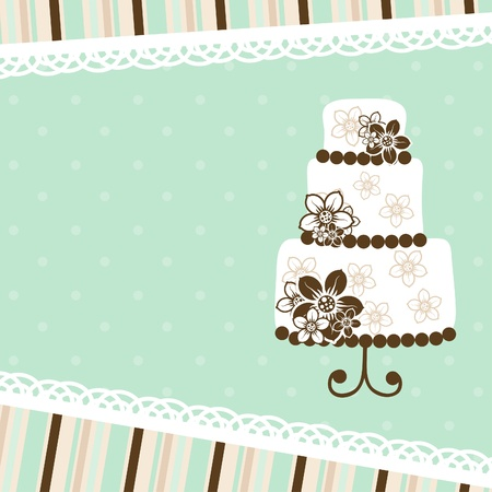 cake background: Template greeting card, vector illustration