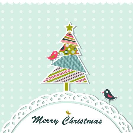 christmas tree illustration: Template christmas greeting card, vector illustration
