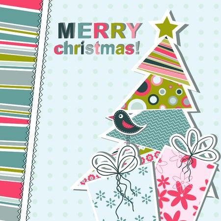 christmas tree illustration: Template christmas greeting card
