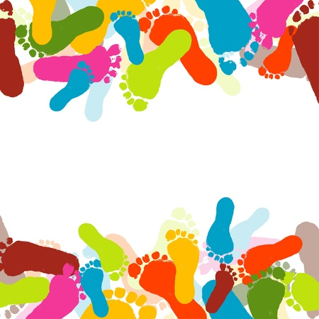 foots: Abstract background, prints of foots of the child