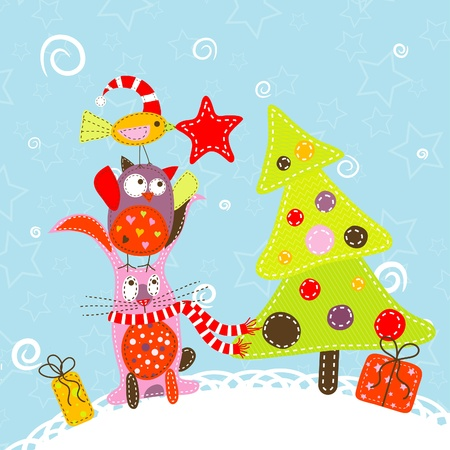Template christmas greeting card Stock Vector - 11085023
