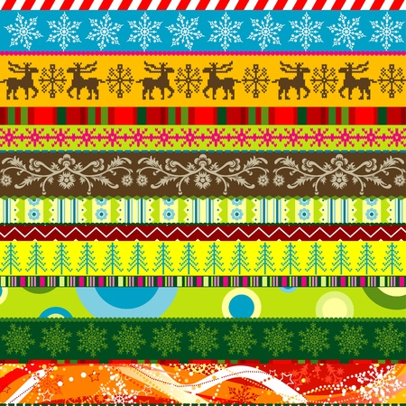 Scrapbook christmas patterns for design, vector illustration Vector