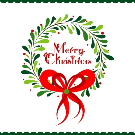 corona navidad: Plantilla de Navidad tarjeta de felicitaci�n, ilustraci�n vectorial Vectores