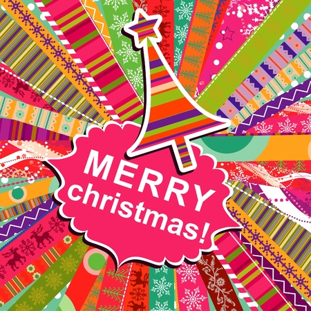 Scrapbook christmas patterns greeting card for design, vector illustration