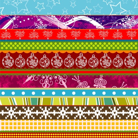 embroidery flower: Scrapbook christmas patterns for design, vector illustration Illustration