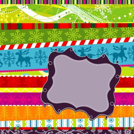 Scrapbook christmas patterns greeting card for design, vector illustration Vector