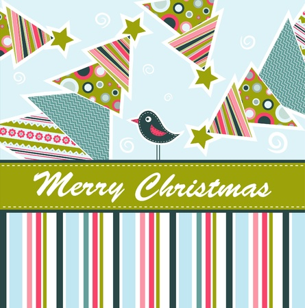bullfinch: Template christmas greeting card, vector illustration